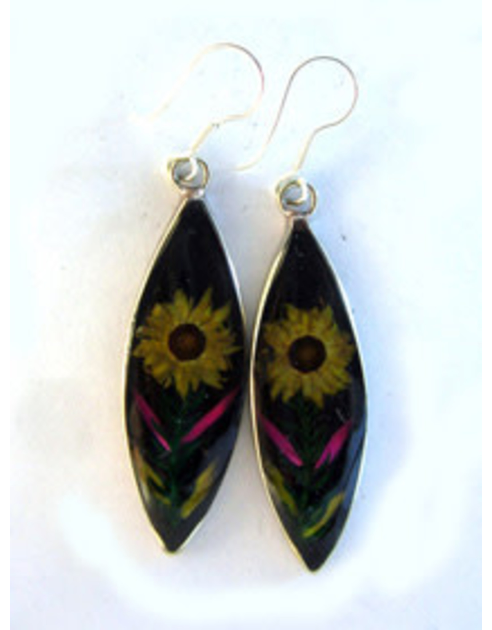 Pewter Nahua Flower Earrings, Mexico