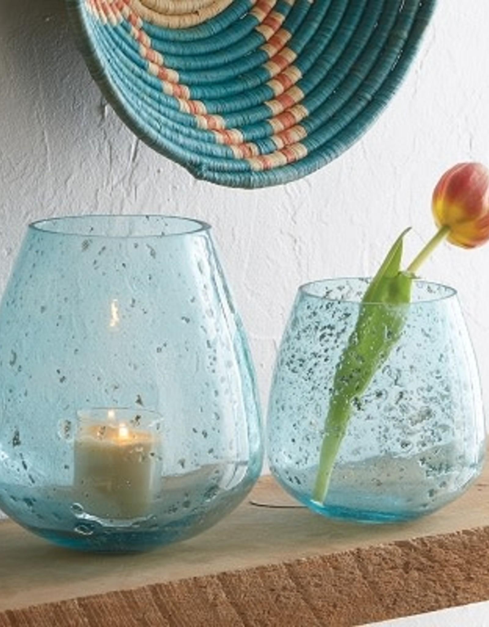 Jodpur Blue Bubble Vase Round TALL (left), India
