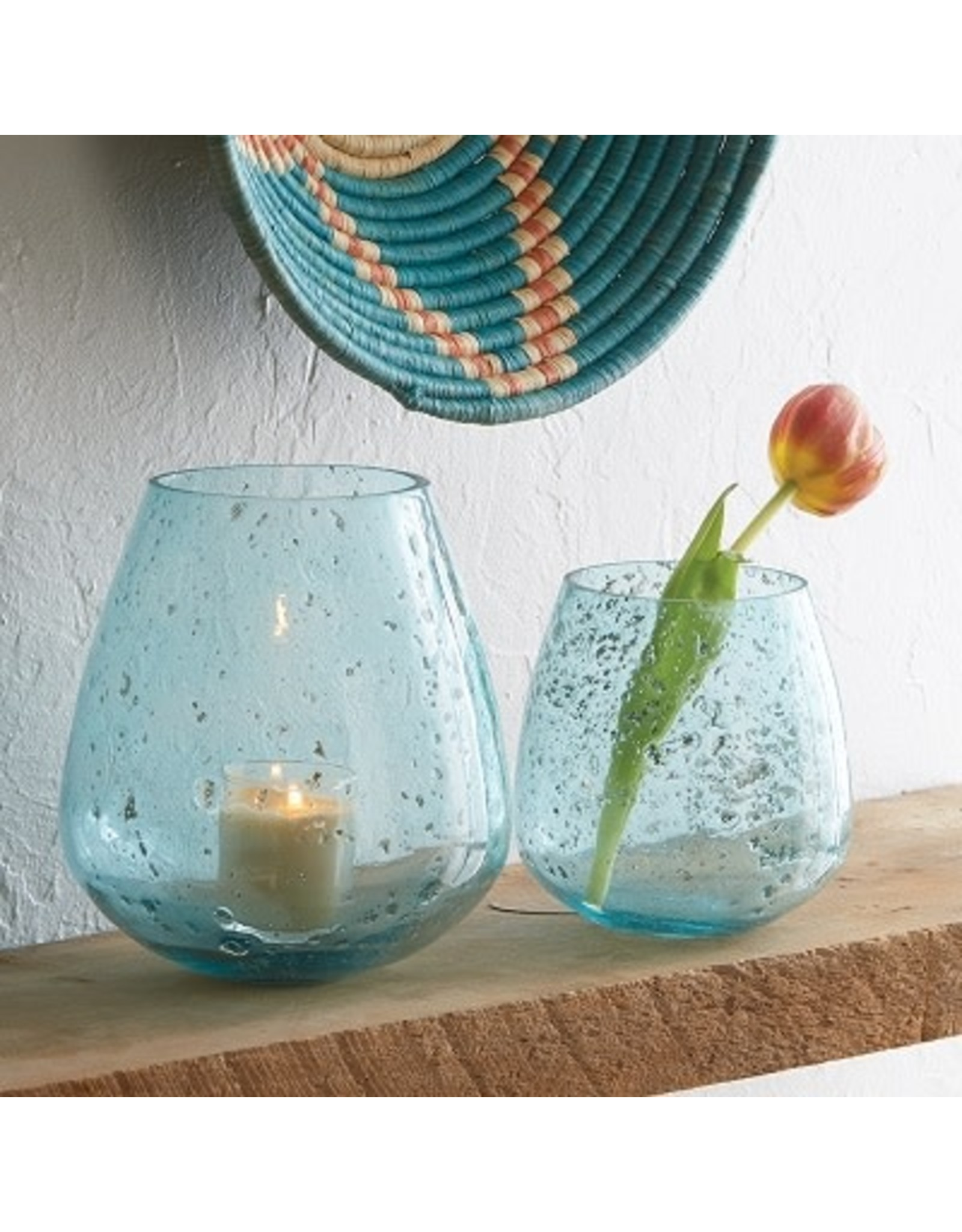 Jodpur Blue Bubble Vase Round TALL (left), India