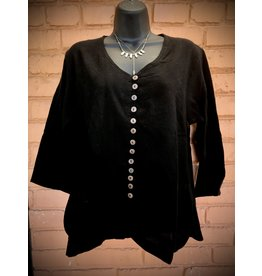 V Neck Cotton Shirt, Black