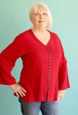 V Neck Cotton, Red