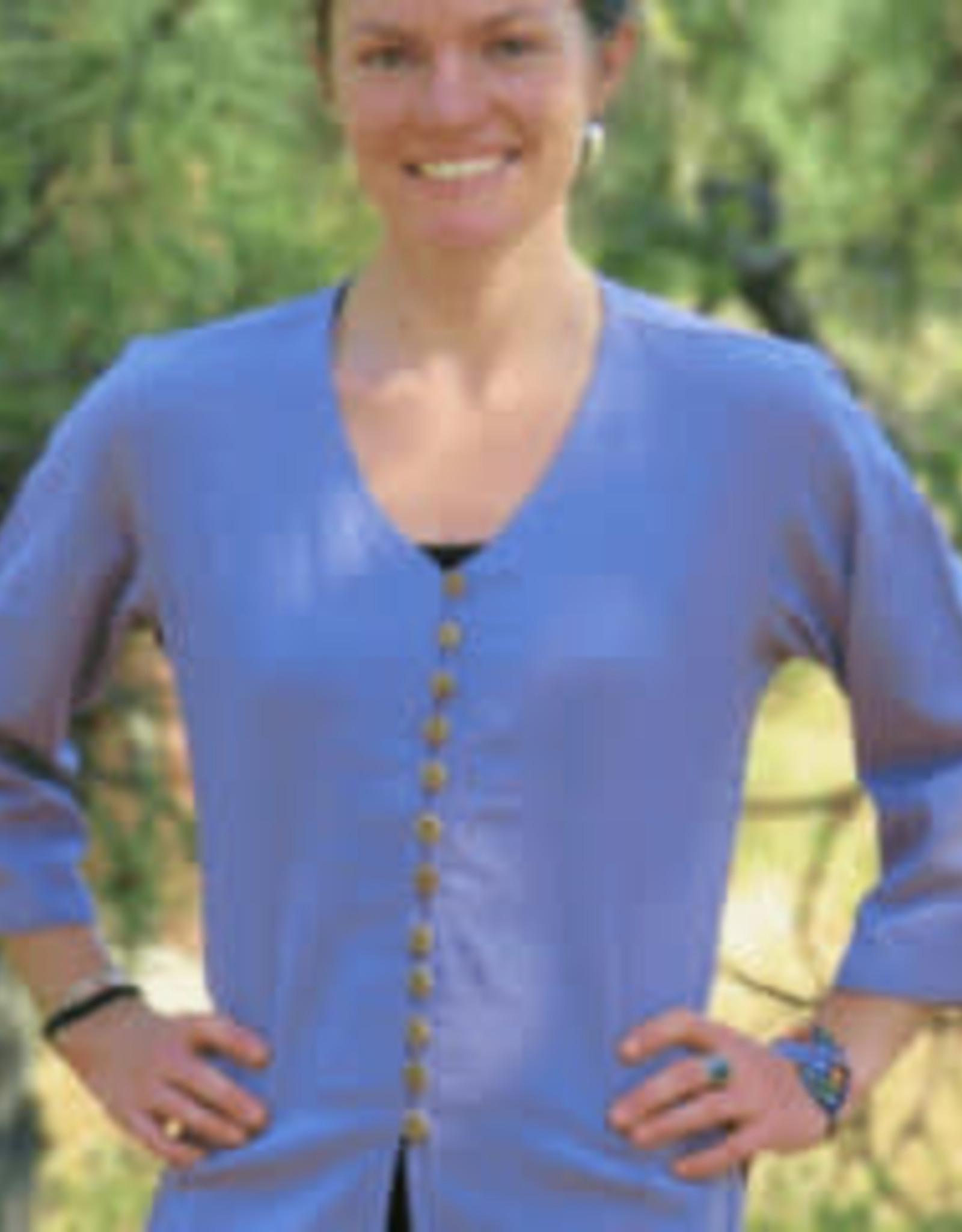 V neck Cotton Shirt, Periwinkle