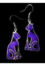 Jewel Tone and Resin Earrings, Purple Cat, Mexico
