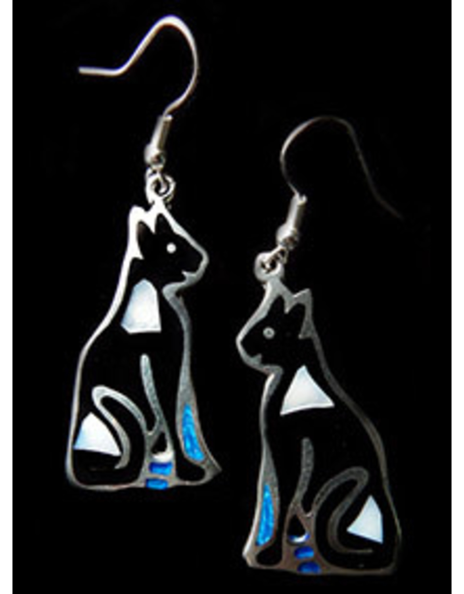 Jewel Tone and Resin Earrings, Black Cat, Mexico