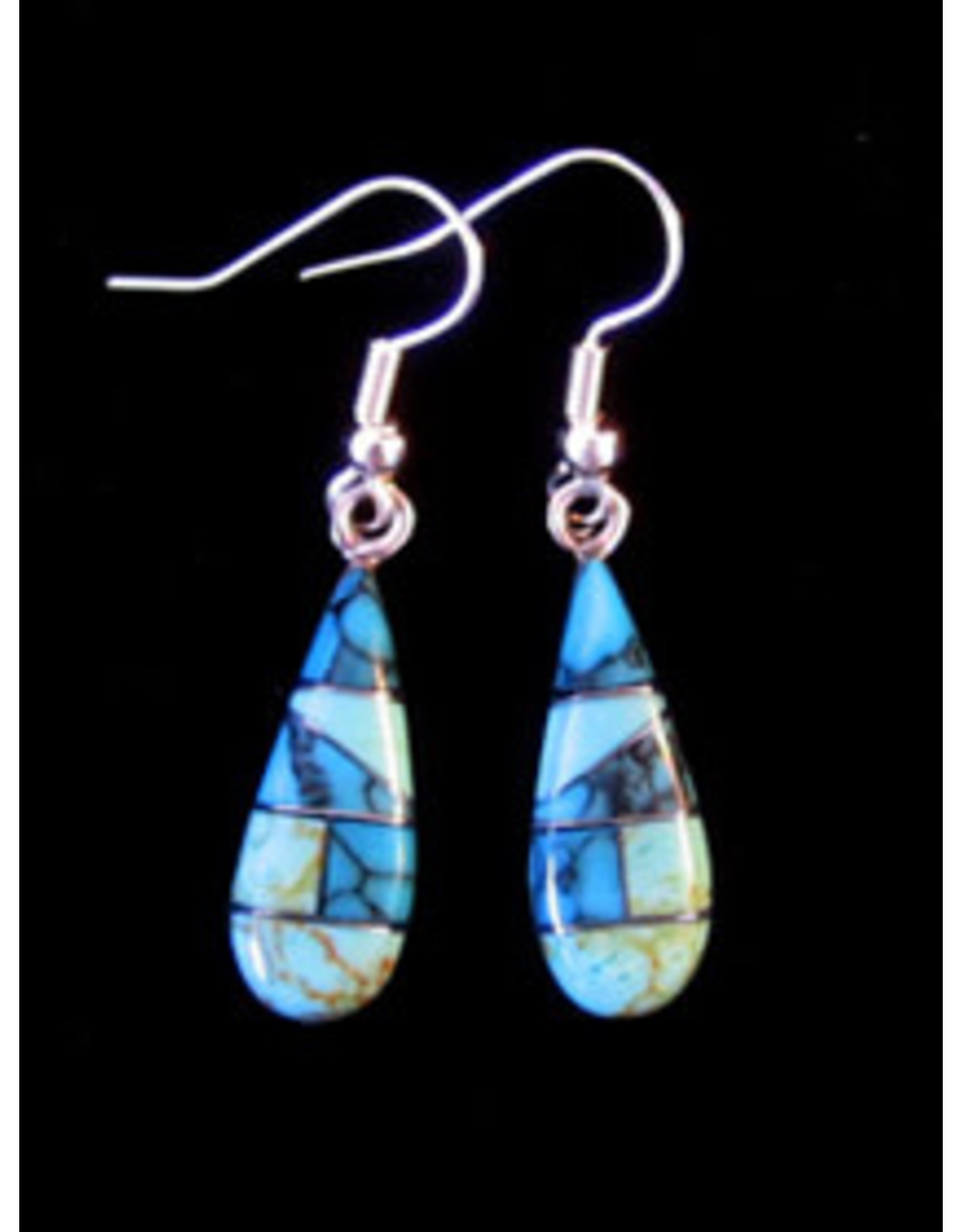 Classic Teardrop Earrings, Six Stone Mosaic Kitman Cerulean, Mexico