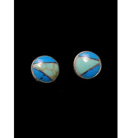 Jewel Tone and Resin Earrings Turquoise Posts, Mexico