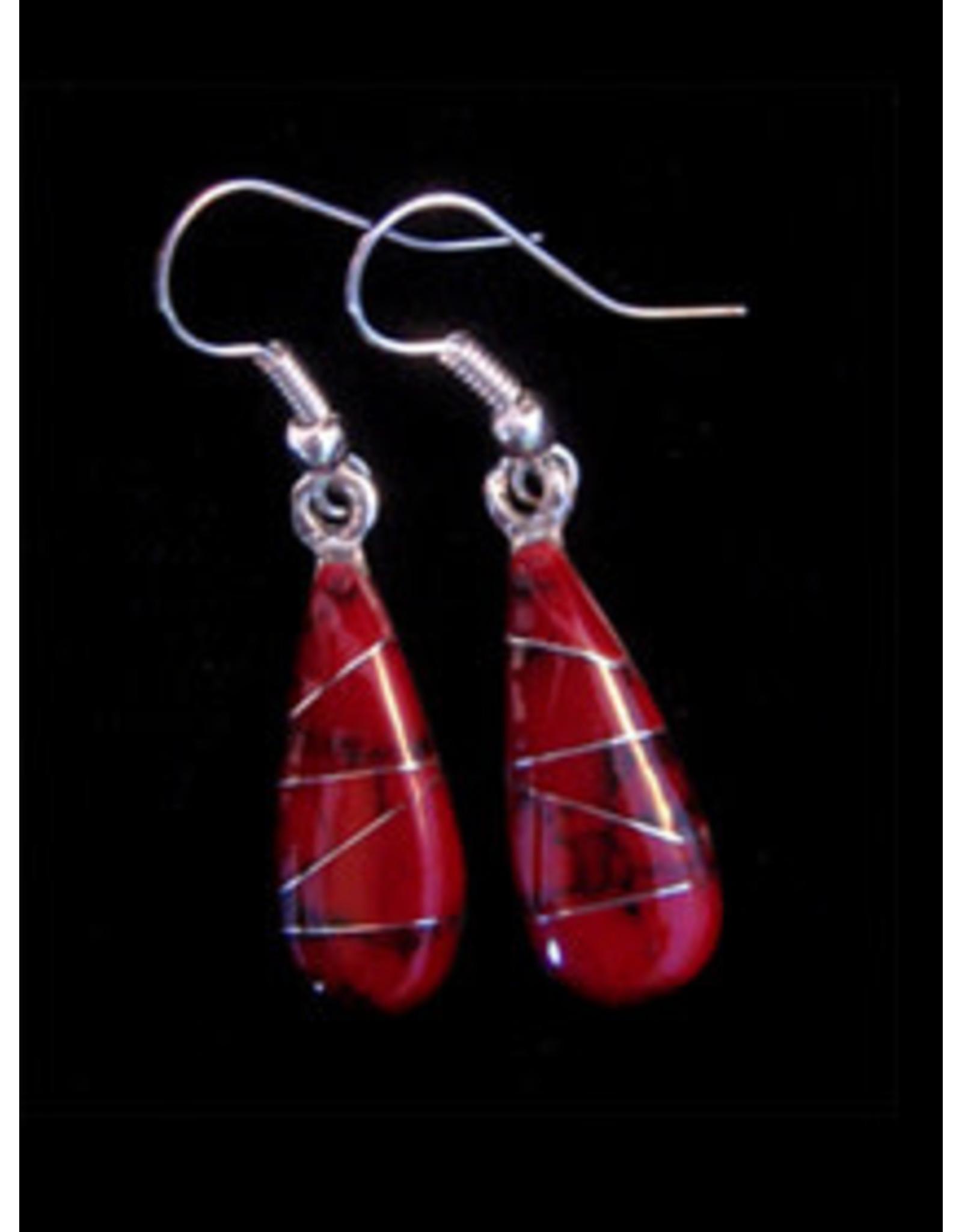 Bloodstone Jasper Mosaic Teardrop Earrings, Mexico