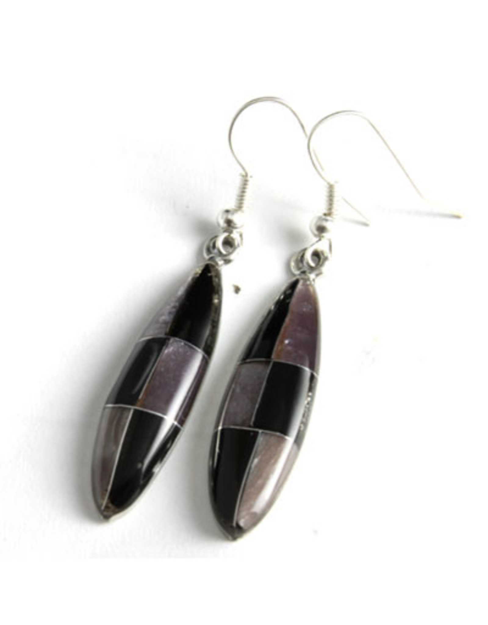 Obsidian Theme Stone Inlay Earrings, Mexico