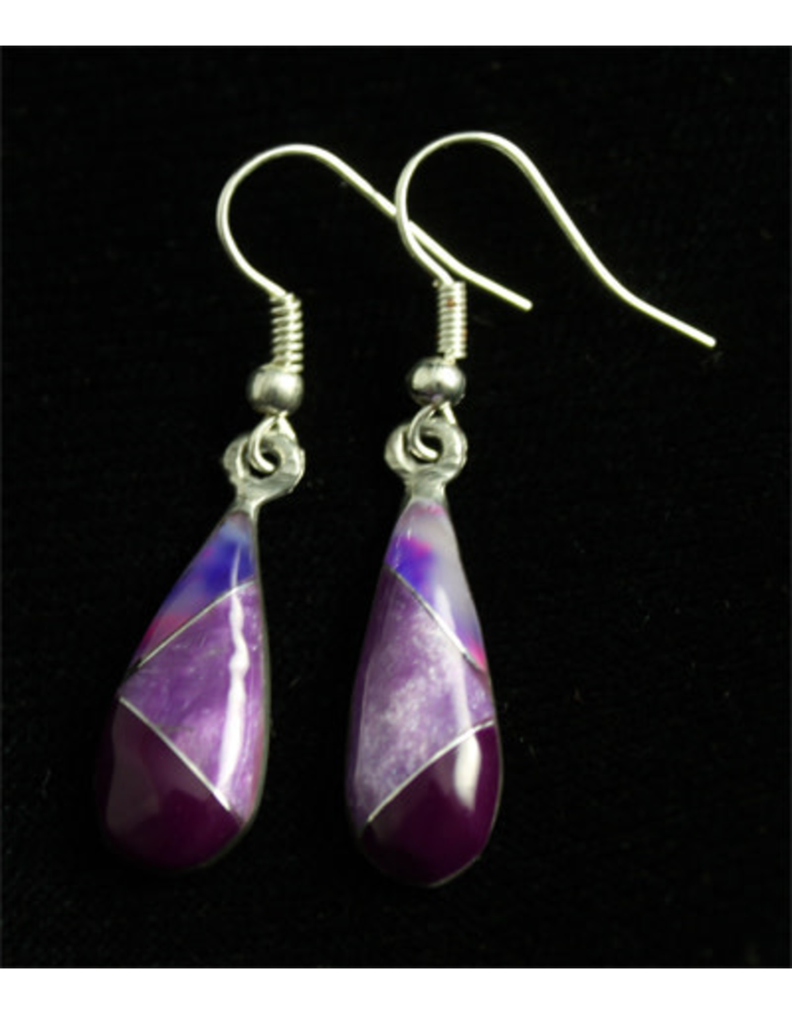 Alpaca Resin and Amethyst Stone Earrings, Mexico