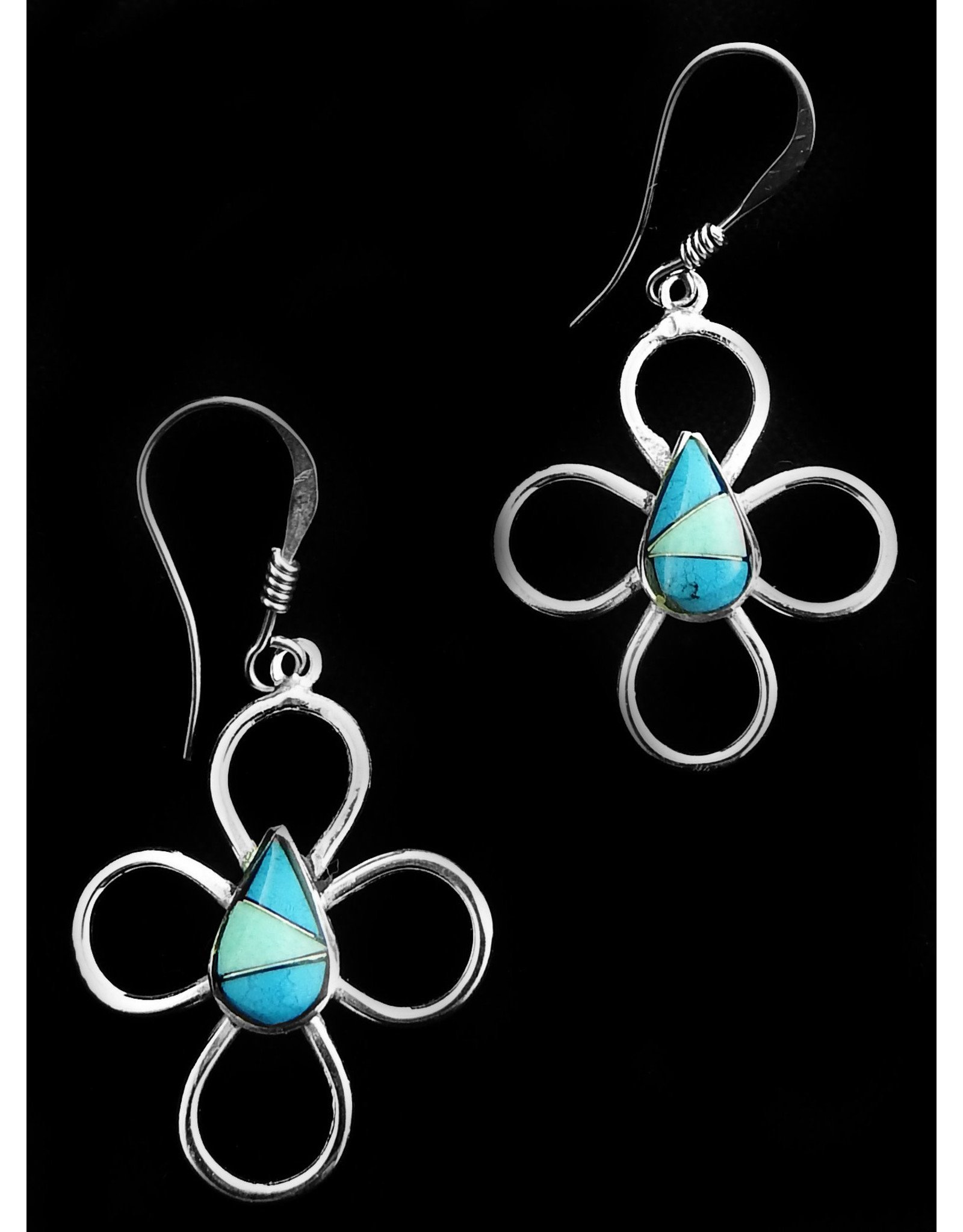 Flower, Turquoise Alpaca Earrings,Mexico