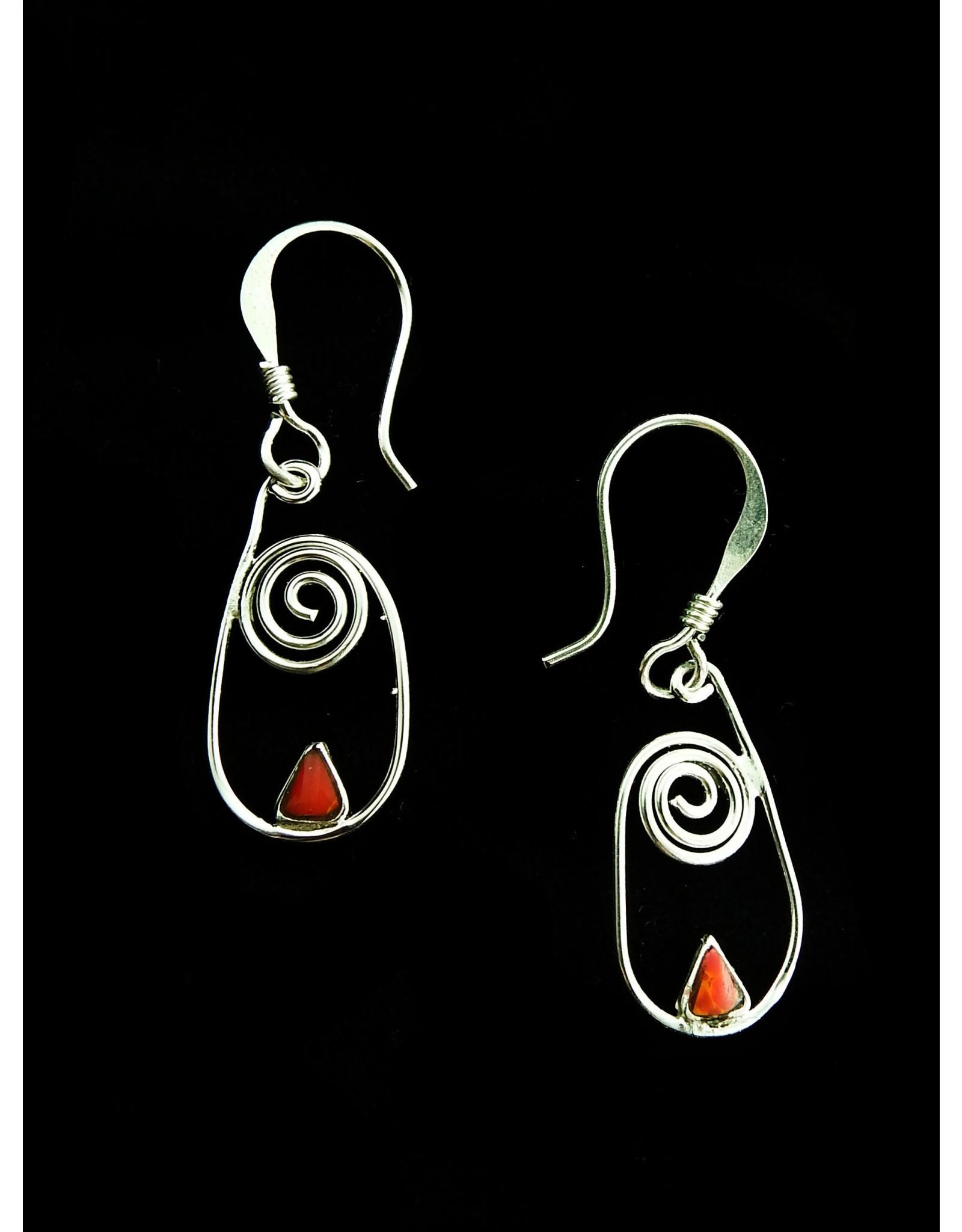 Bloodstone Alpaca Earrings, Mexico