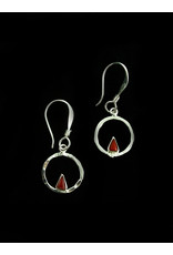 Circle With BloodStone Triangle Earrings, Mexico