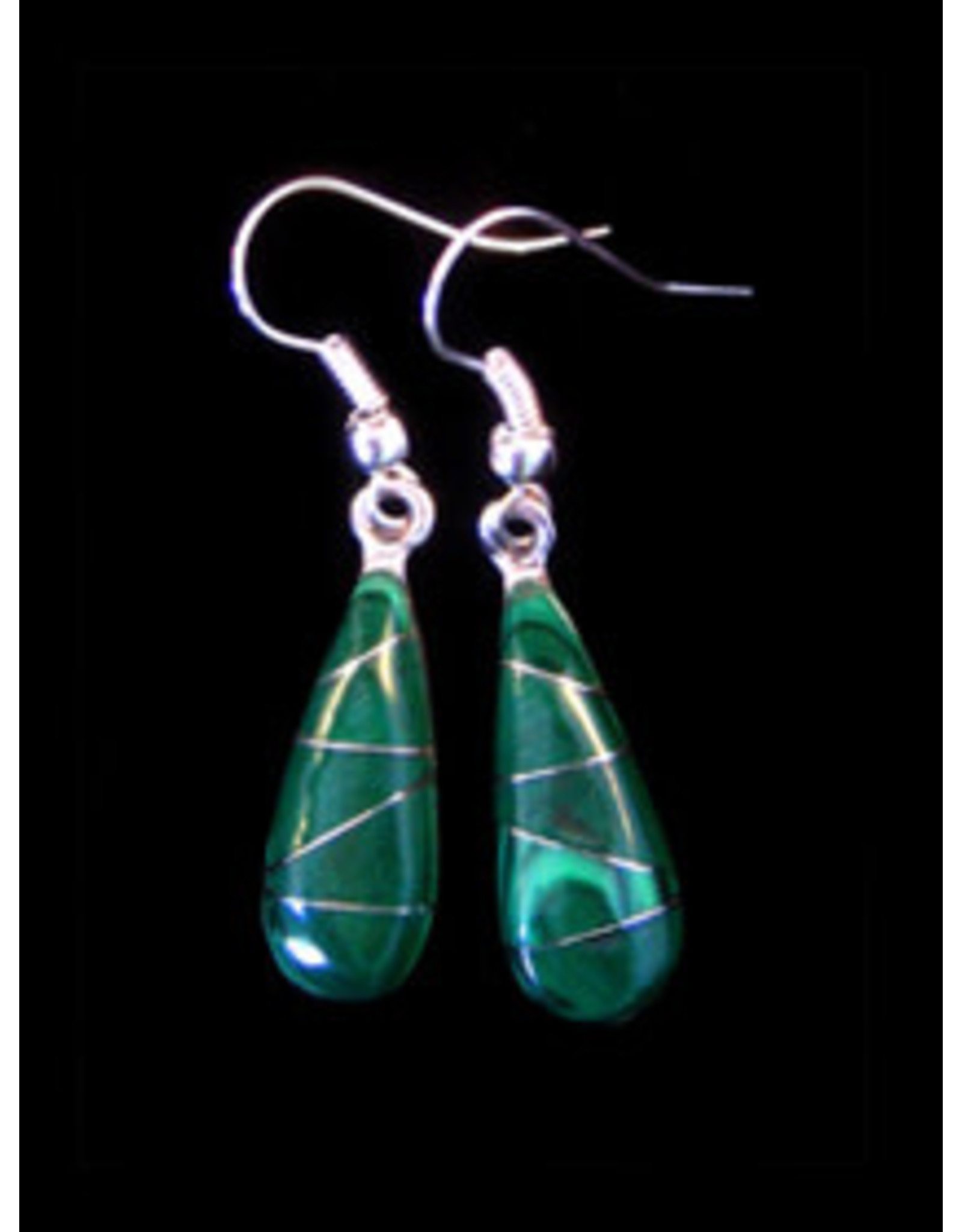 Jade Inlaid Drop Earrings, Mexico