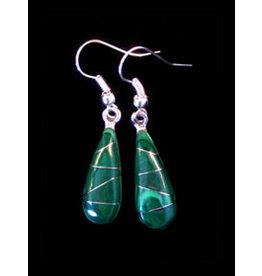 Jade Inlaid Drop Earrings, Mexico