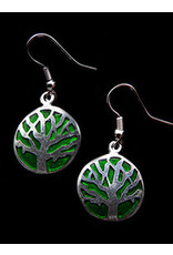 Alpaca Resin and Stone Earrings Tree of Life Green, Mexico