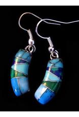 Turquoise Malachite Earrings, Mexico