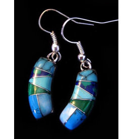Turquoise Malachite Earrings, Mexico