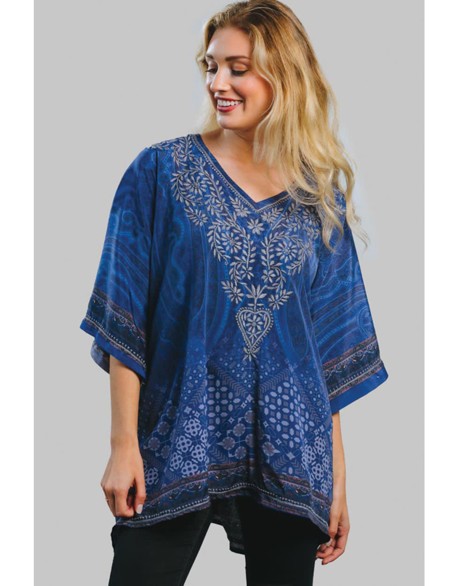 Darika Hand Embroidered Top, Blue and Silver, India