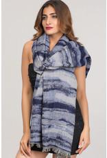 Cotton & Merino Wool Indigo Waves Shawl