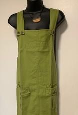 Cotton Jumper Dress w/ Pockets, Olive