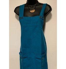 Cotton Jumper Dress w/ Pockets, Teal