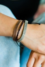 Three Color Leather Strand Bracelet
