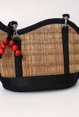 Mini Kiri Wave Basket Purse Vertical Natural Brown Accent