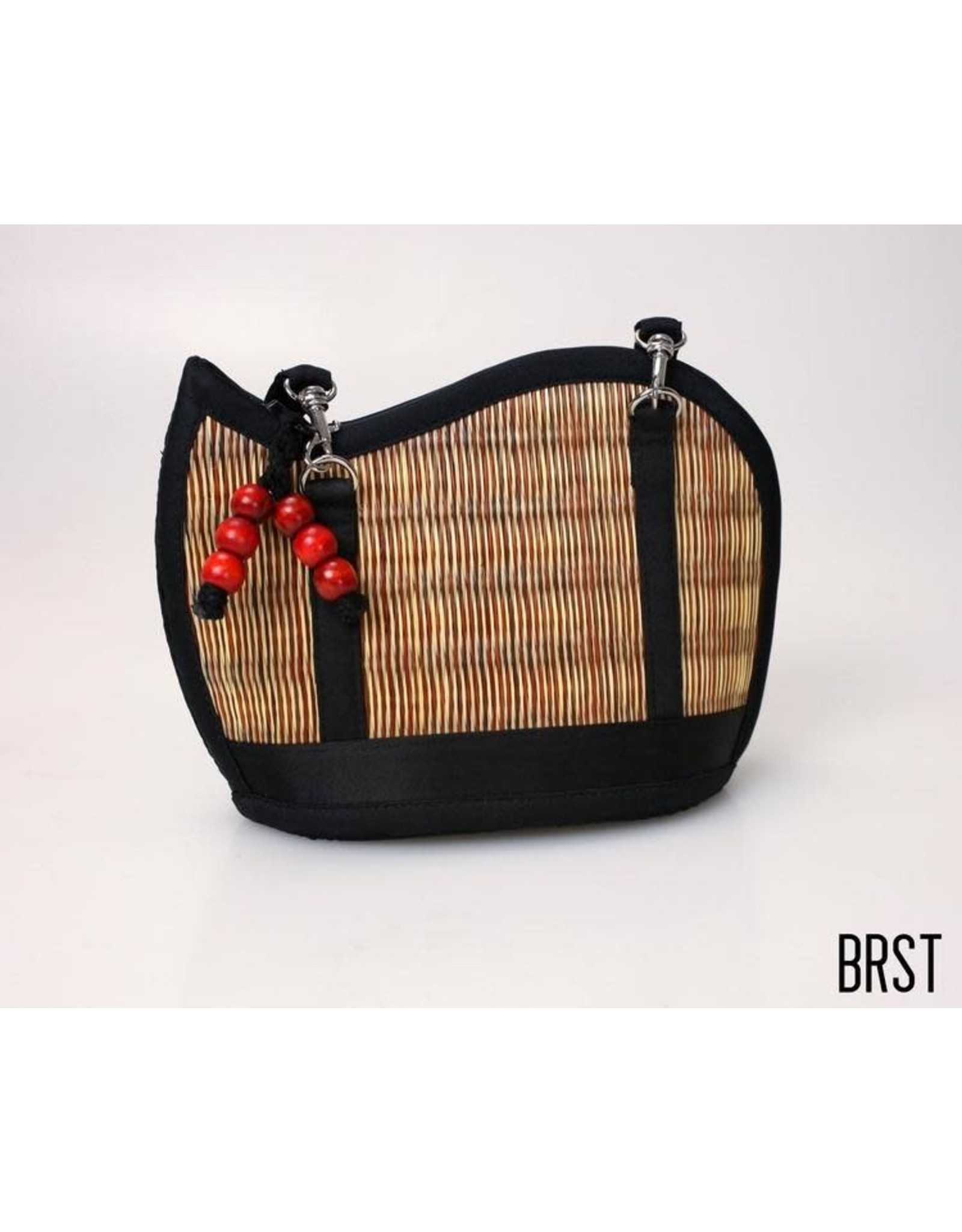 Mini Kiri Wave Basket Purse Vertical Natural Brown Accent