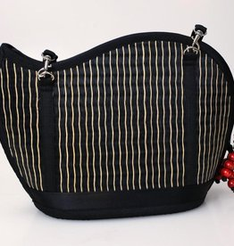 Kiri Wave Purse Black with Natural Accent Lines