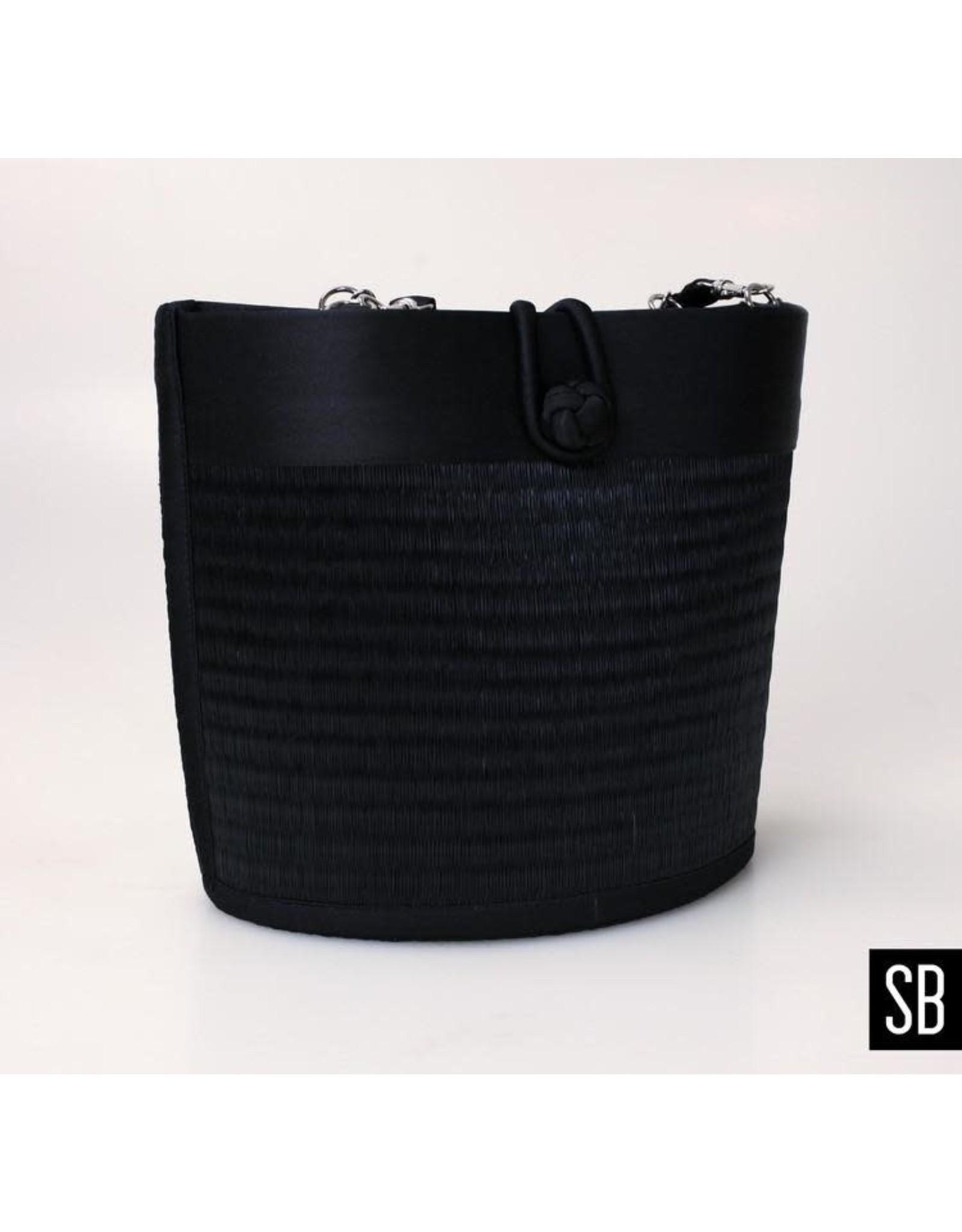 Petite Curved Avi Basket Bag, Solid Black