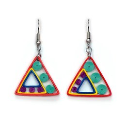 Triangle Triad Quilled Earrings, Vietnam