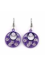 Quilled Earrings Lavender Sea of Swirls, Vietnam