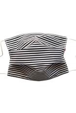 Cotton Mask,  NAVY/WHITE Stripes (NO FILTER POCKET)