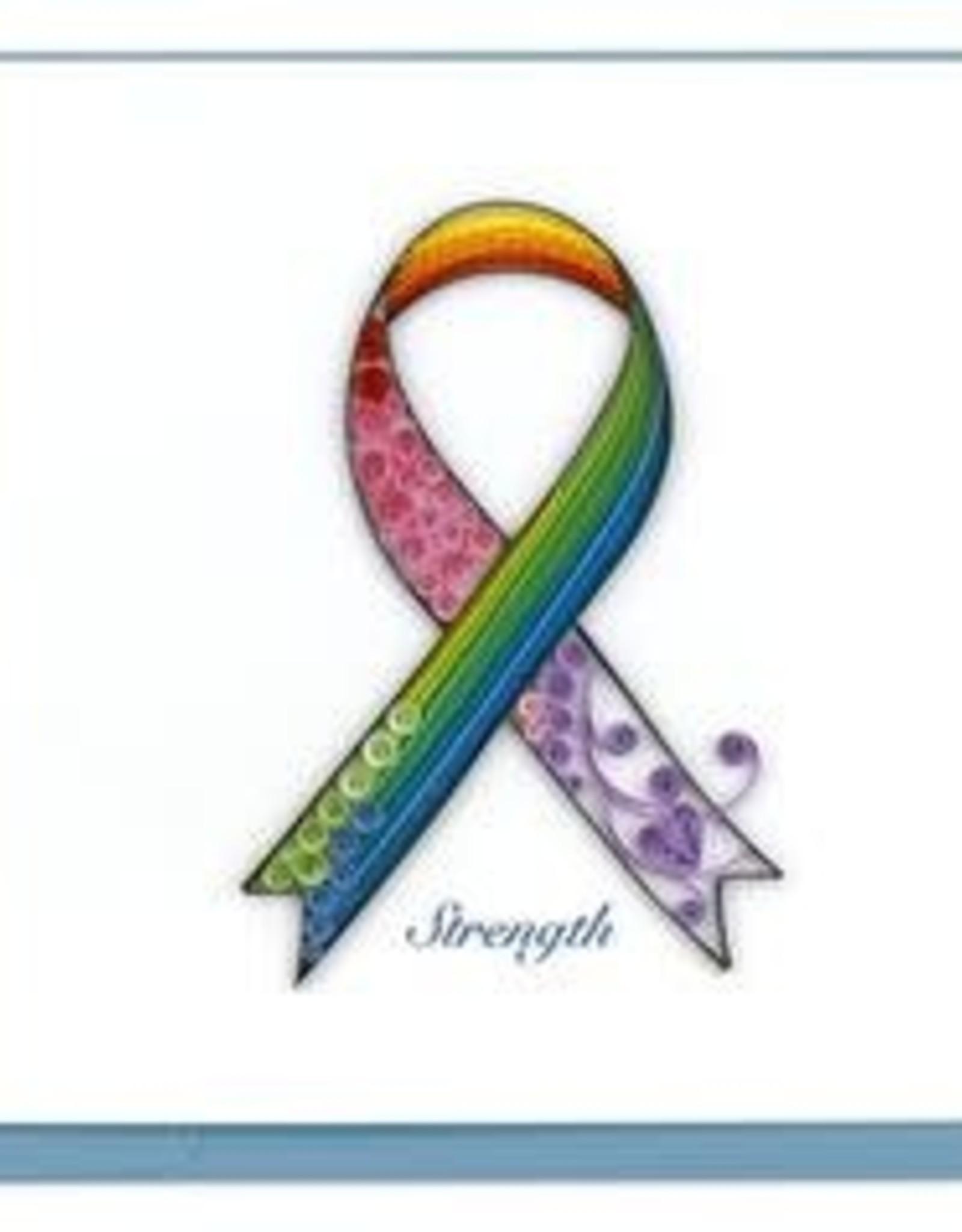 Vietnam, Quilled Rainbow Cancer Ribbon Card