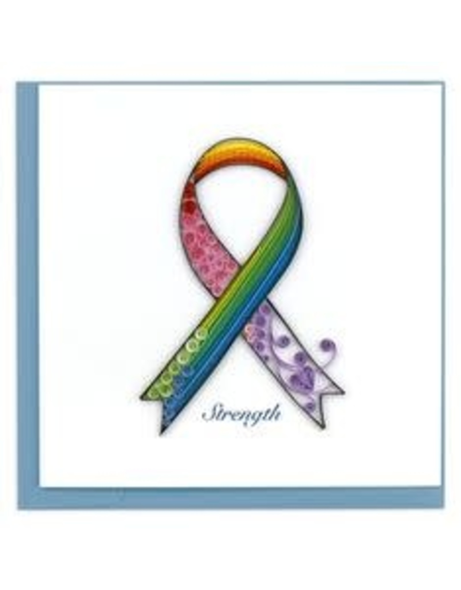 Vietnam, Quilled Rainbow Cancer Ribbon Card