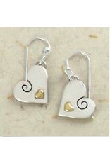 Sterling, Swirly Heart Wire earring