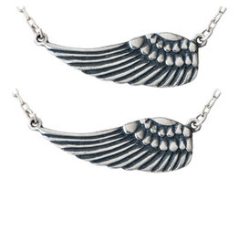 Sister Angel Wings Pendant Necklace, Set of 2