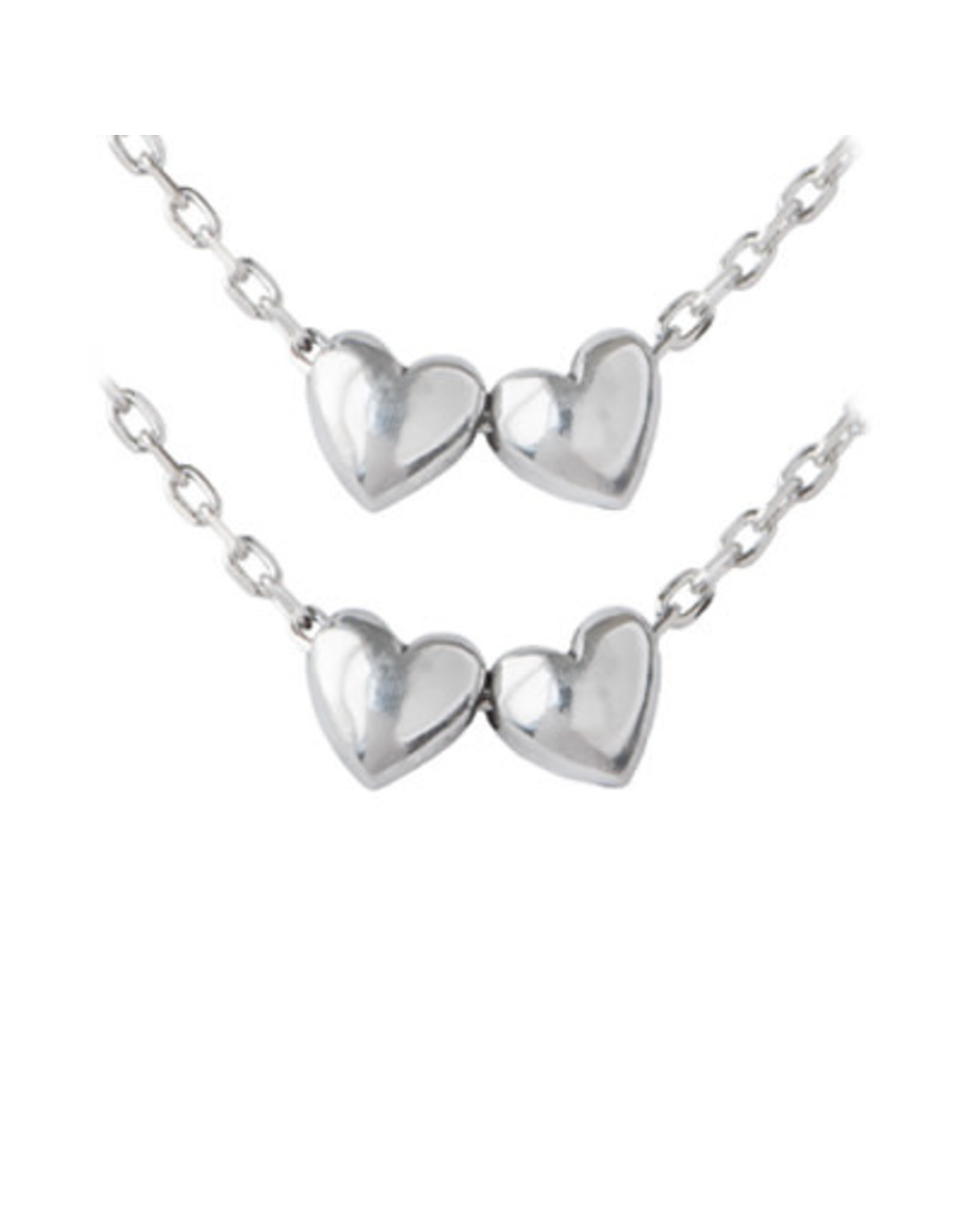 Set of Two, Double Hearts Pendant Sisters Necklace, Thailand
