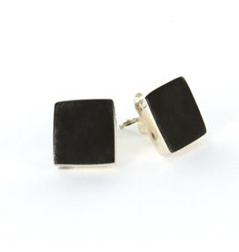 Brushed Oxidized Silver Earrings