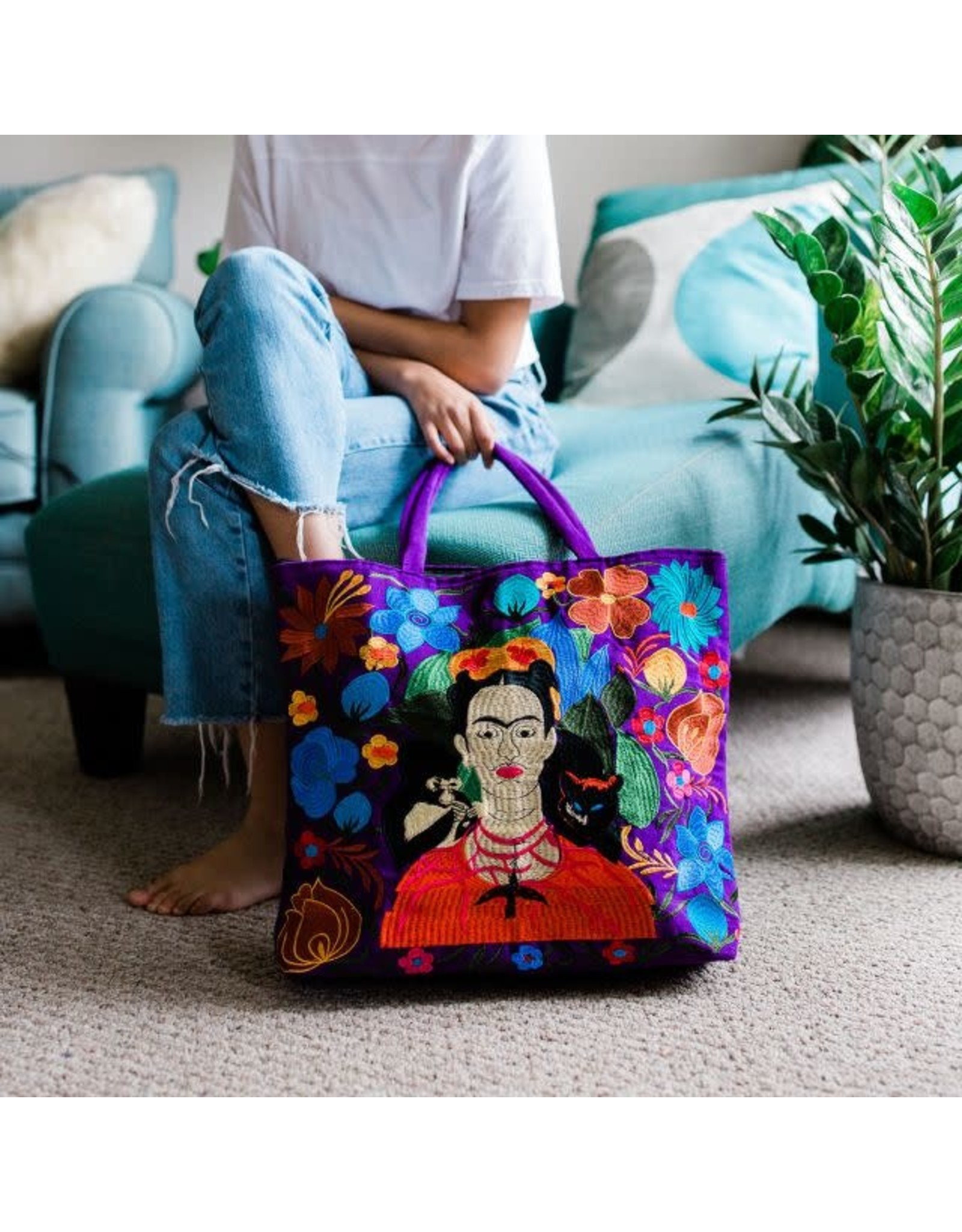 Frida Kahlo Embroidered Tote Bag, Guatemala