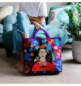 Frida Kahlo Embroidered Tote Bag, Guatemala