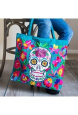 Skeleton Embroidered Tote Bag, Guatemala