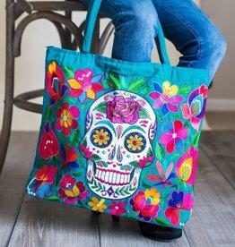 Skeleton Embroidered Tote Bag, Guatemala