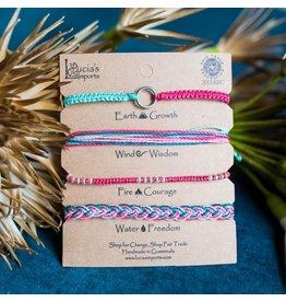 Elements Carded Bracelet Set, Teal/Pink,  Guatemala