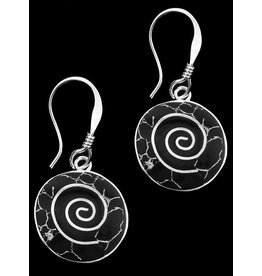 Alpaca Resin and Stone, Earrings Black Dotted Spiral, Mexico