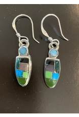 Blue, Black and Green Small Stone Mosaic Earrings, Mexico