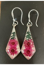 Diamond Nahua Flower Earrings, Mexico
