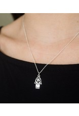 Sterling Silver Charm Hamsa Necklace, India