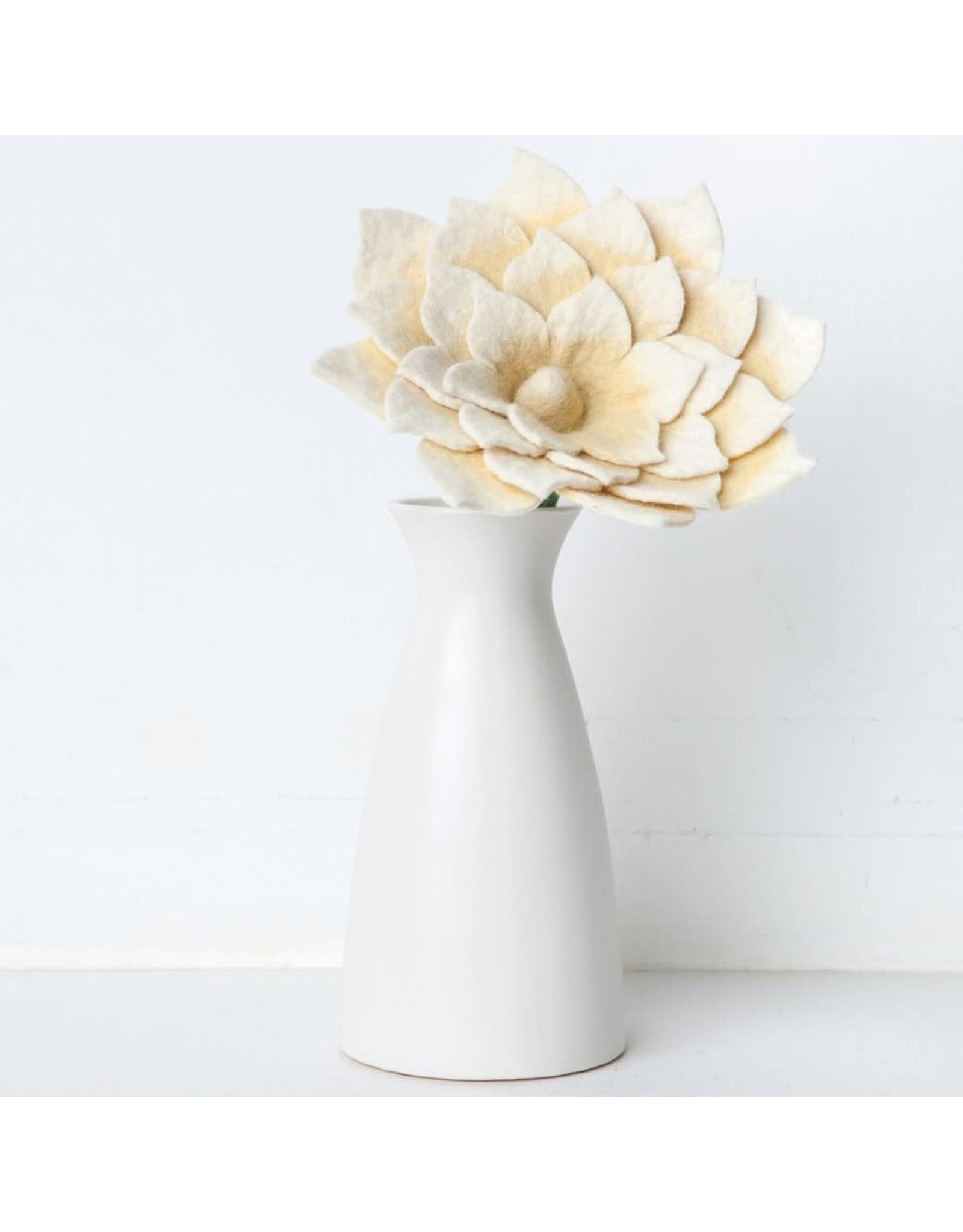 Nepal, Felt Lotus Flower, WHITE