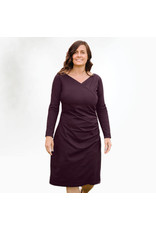 Long Sleeve, Organic Cotton, Aubergine Cinched Dress